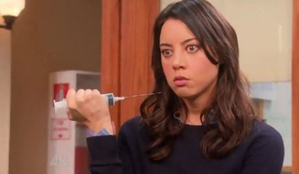 Aubrey Plaza gets stabby as April Ludgate on Parks And Recreation