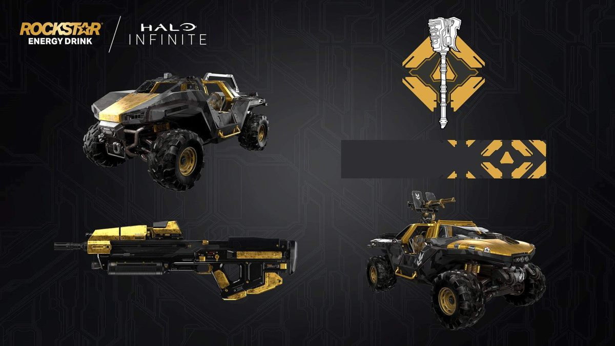 Halo Infinite energy drink collab brings black-and-gold vehicle and gun skins – Gamesradar