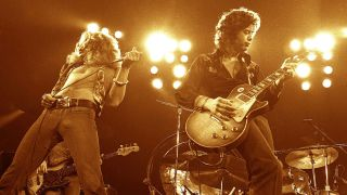 A photograph of Led Zeppelin live on stage in 1972