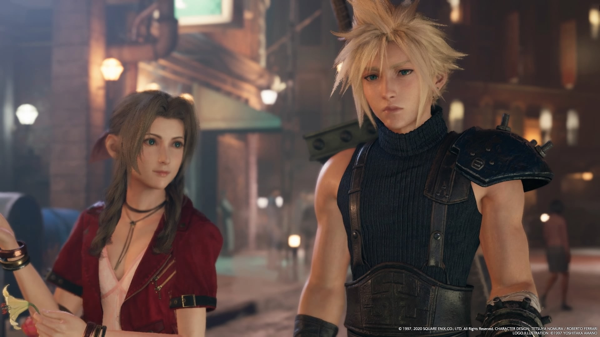 Final Fantasy VII Remake, Aerith is taking Cloud shopping for a pretty dress in Wall Market