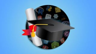A mortar board and a scroll in front of coding icons