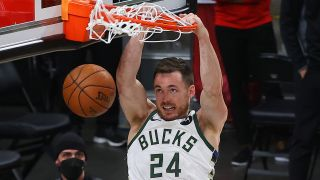 Pat Connaughton #24 of the Milwaukee Bucks dunks against the Atlanta Hawks during the second half in Game Six of the Eastern Conference Finals at State Farm Arena on July 03, 2021 in Atlanta, Georgia.
