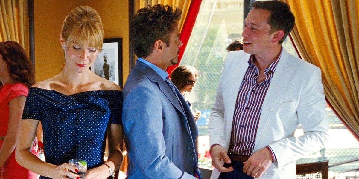 Gwyneth Paltrow, Robert Downey Jr., and Elon Musk in Iron Man 2