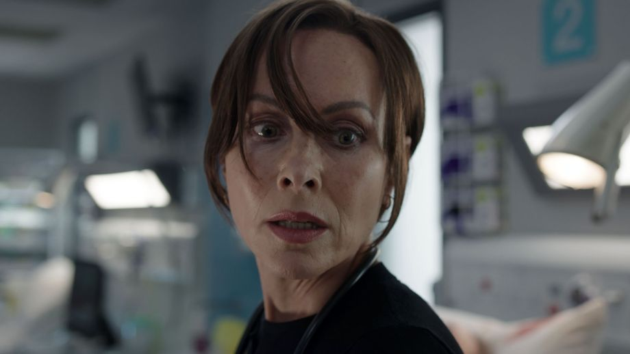 Clinical lead Connie Beauchamp (Amanda Mealing) becomes visibly distressed at work in Casualty