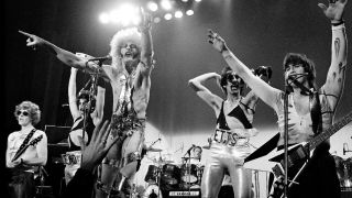 The Tubes performs on stage in 1977 in Copenhagen, Denmark