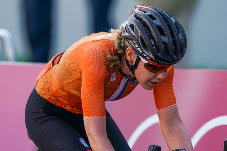 Anna van der Breggen riding the road race at Tokyo 2020 Olympics