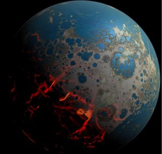 An artistic conception of the early Earth.