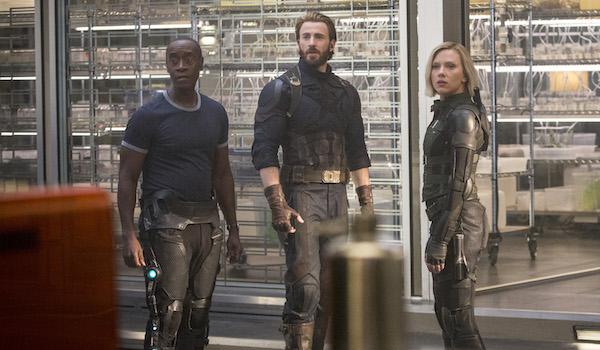 War Machine, Steve Rogers and Black Widow in Infinity War
