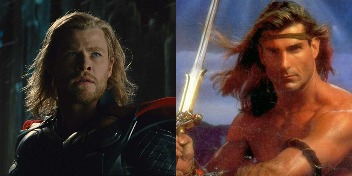 Chris Hemsworth in Thor and Fabio on a fantasy book cover, side by side.