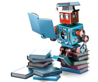 Vintage robot reading books.