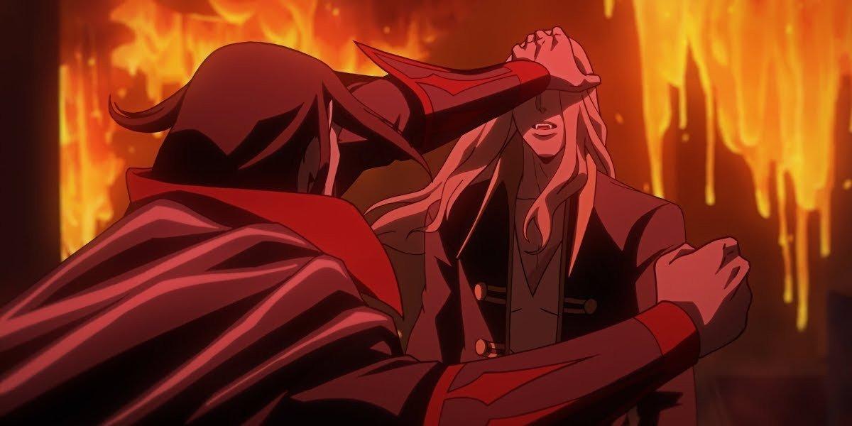 Dracula grabbing Alucard