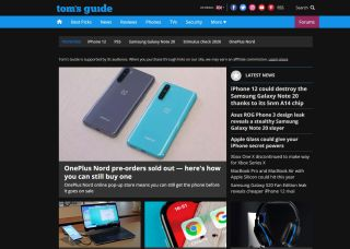 Tom's Guide forced dark mode in MicrosoftEdge