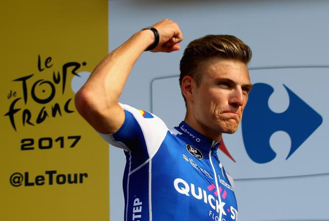 Marcel Kittel on the Tour de France podium after winning stage 6