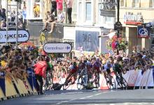 The sprinters try to avoid the falling Mark Cavendish and Simon Gerrans