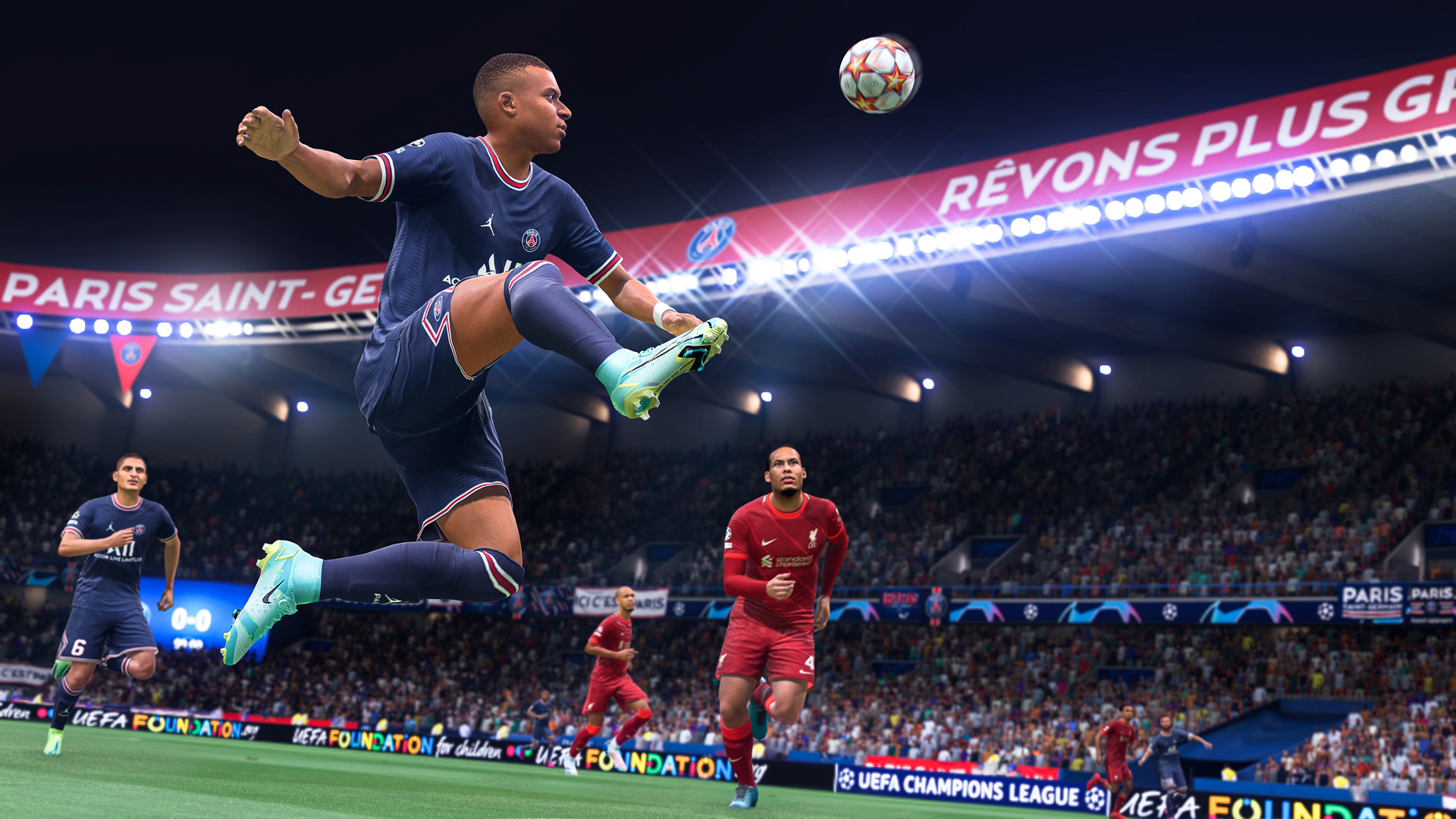 kylian mbappe controlling the ball in the air in fifa 22