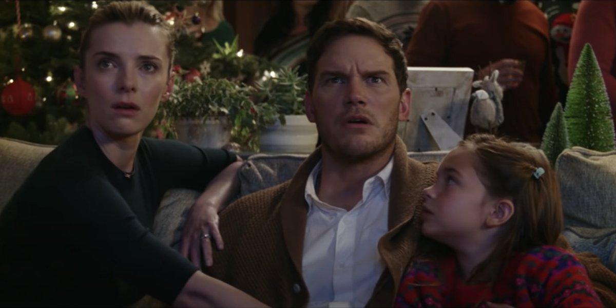 Betty Gilipin, Chris Pratt, and Ryan Kiera Armstrong in The Tomorrow War