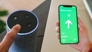 An Amazon Echo device juxtaposed with an Apple iPhone showing the Find My app in action.