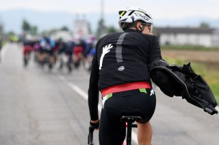 CANALE ITALY MAY 10 Kilian Frankiny of Switzerland and Team Qhubeka Assos during the 104th Giro dItalia 2021 Stage 3 a 190km stage from Biella to Canale Rain jacket Detail view girodiitalia Giro on May 10 2021 in Canale Italy Photo by Tim de WaeleGetty Images