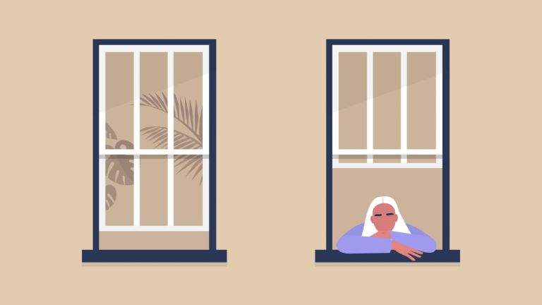 female character looking out the window, self-isolation and boredom, quarantine