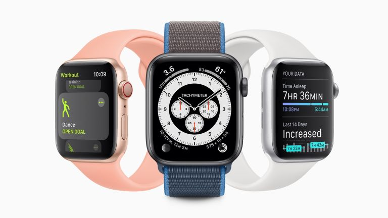 three apple watches showing different features