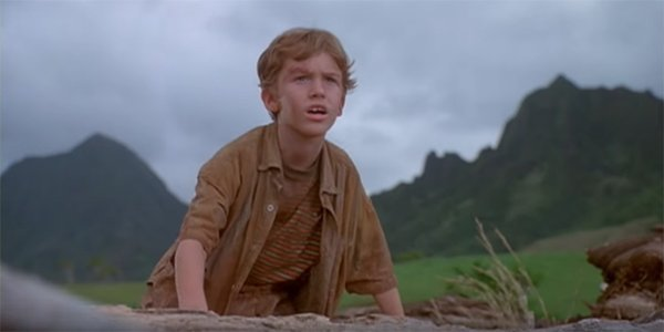 Tim in Jurassic Park watching a herd of dinosaurs