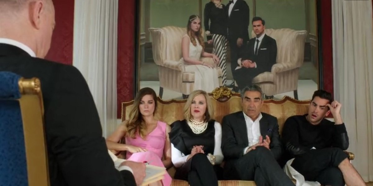 Euguene Levy, Dan Levy, Catherine O'hara, and Annie Murphy in Schitt's Creek