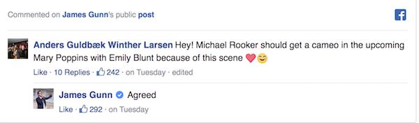 James Gunn's facebook comment