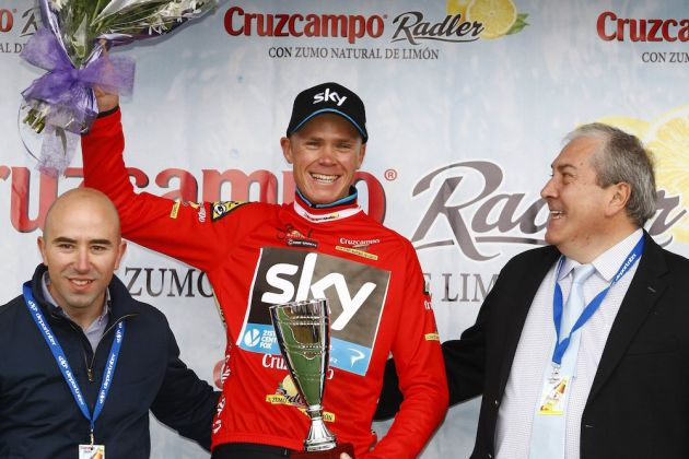 Photo: Chris Froome on the podium after Stage 4 of the 2015 Tour of Andalucia Ruta Del Sol .