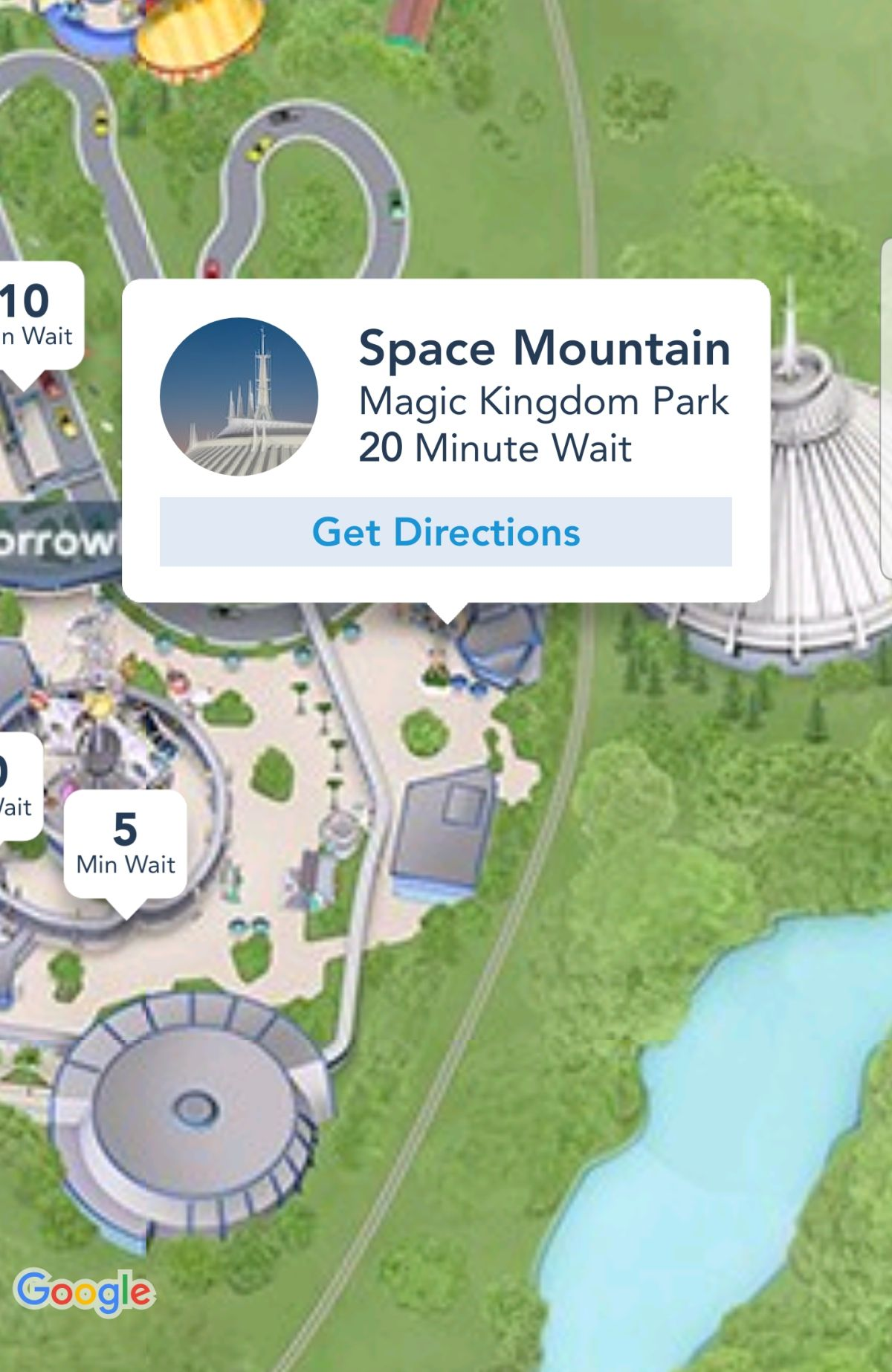 Space Mountain Wait Time from Walt Disney World app