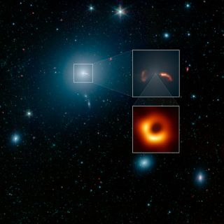 A NASA image shows the M87 galaxy, in the middle of which is the black hole that was imaged for the first time earlier this month (bottom-most box). The top zoomed-in box shows the shockwaves caused by jets of plasma spewed out from the black hole.