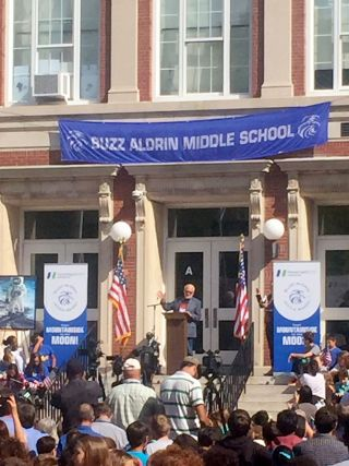 Buzz Aldrin speaks at Buzz Aldrin Middle School