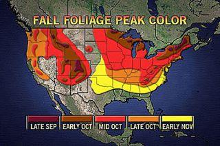 Fall foliage peak colors in U.S.