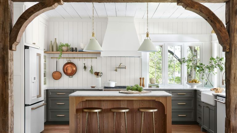green kitchen by Joanna Gaines in Fixer Upper: Welcome Home