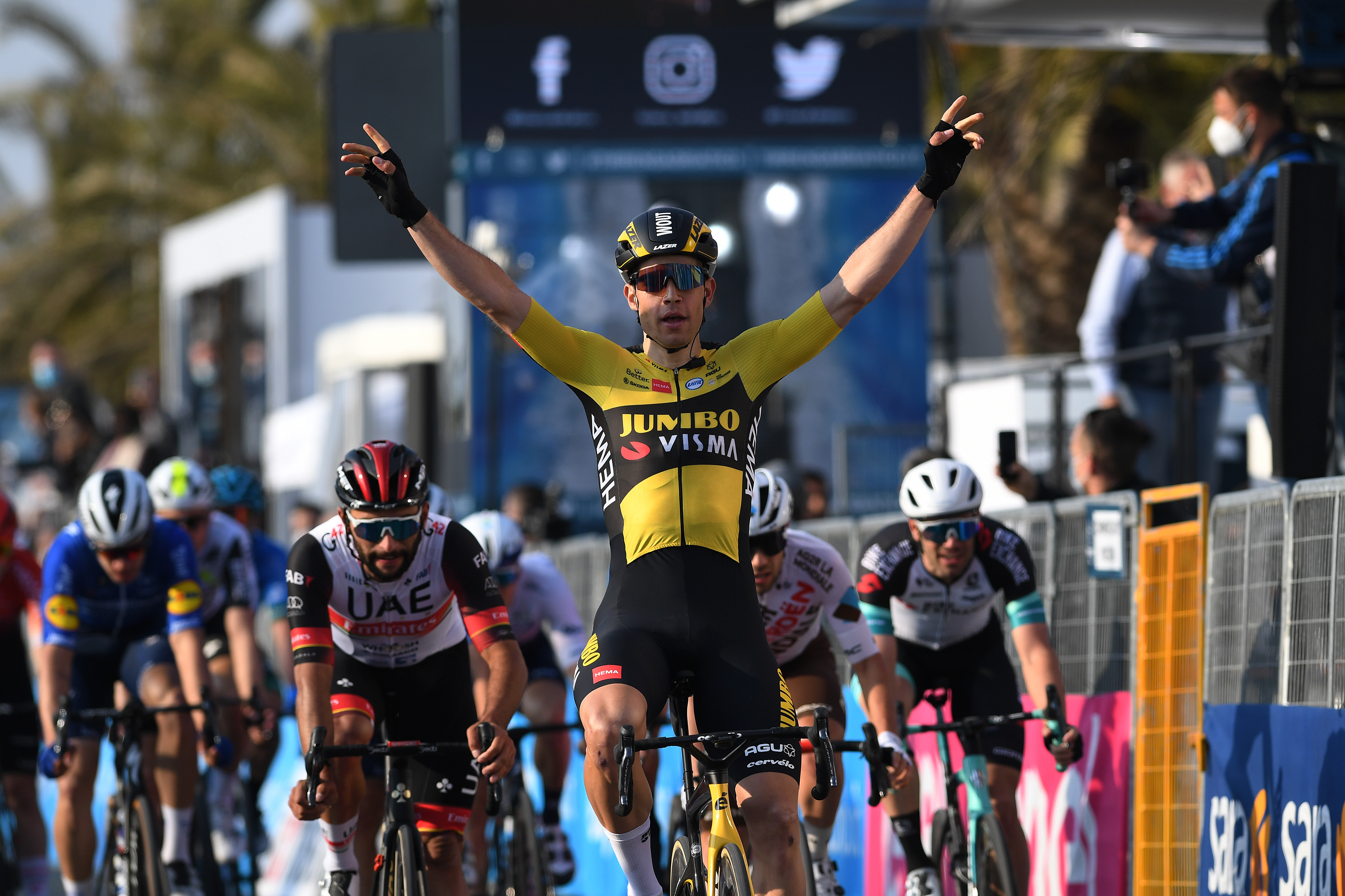 Wout van Aert wins stage 1 of Tirreno-Adriatico in Lido di Camaiore.