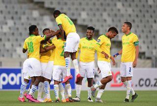 Mamelodi Sundowns players celebrate a goal scored by Lyle Lakay