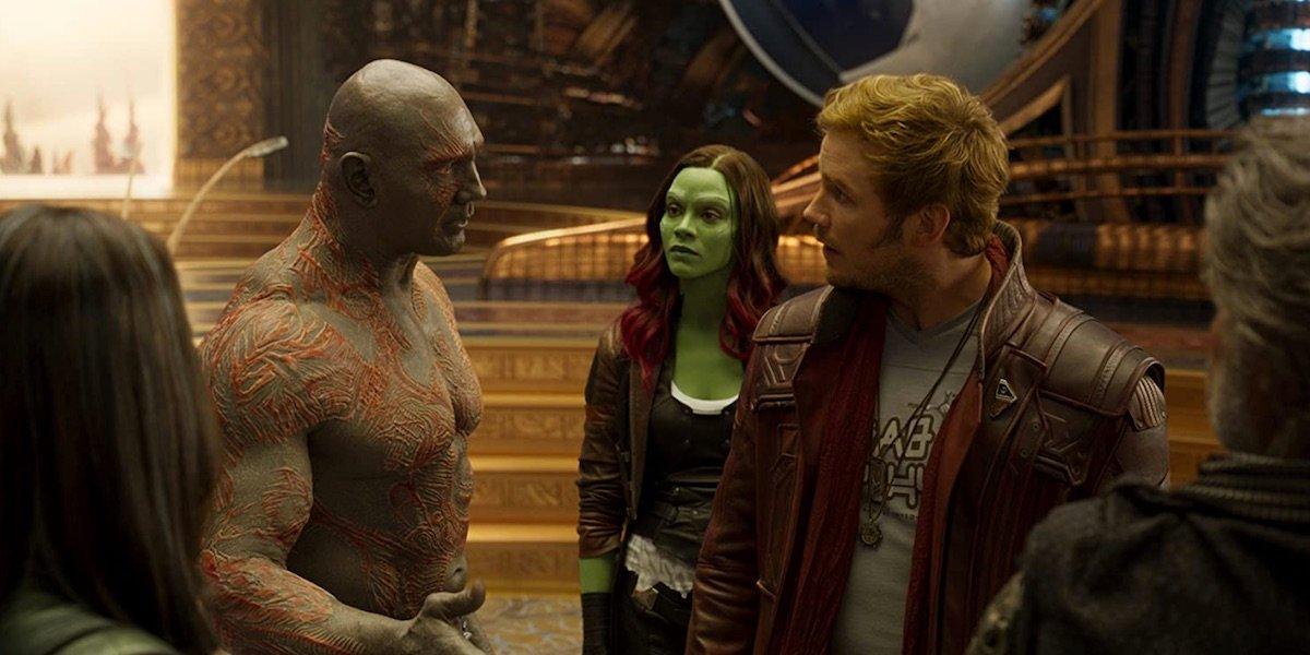 Drax, Gamora, and Star-Lord talking in Guardians 2