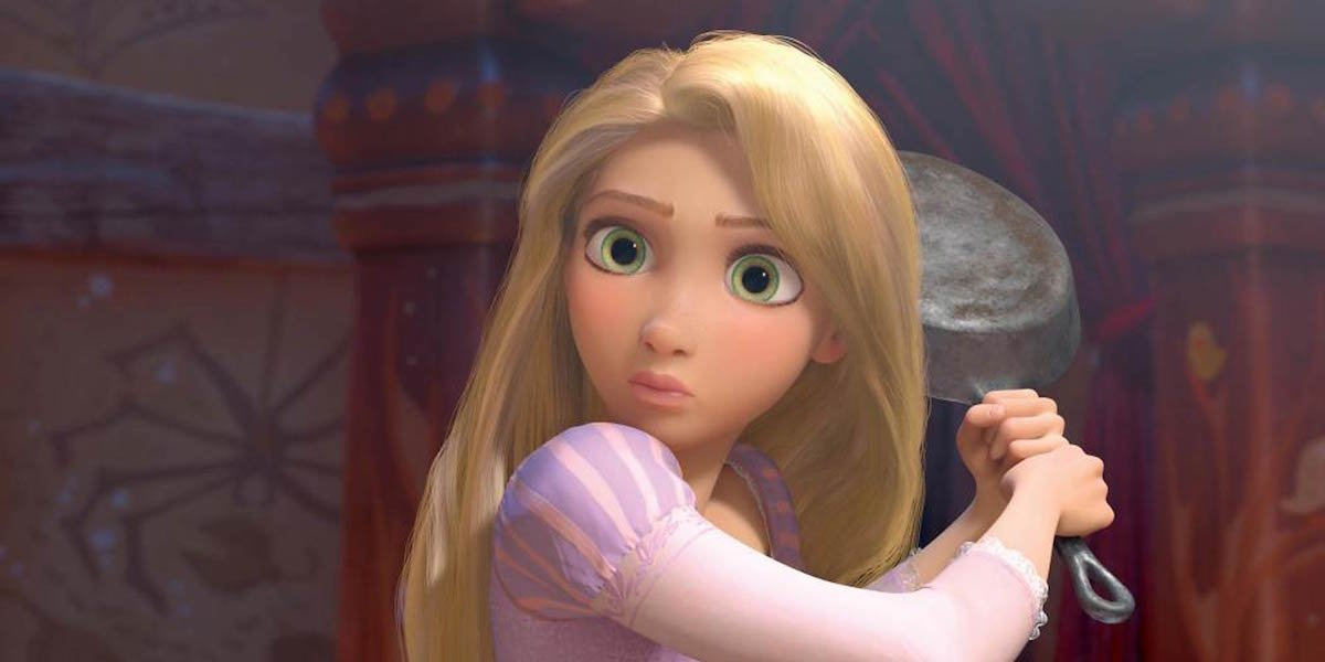 Rapunzel looks hesitant as she holds a frying pan in Tangled