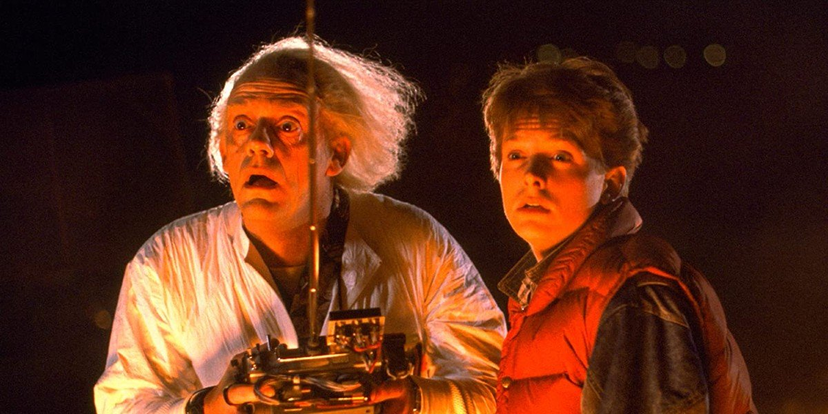 Michael J. Fox as Marty McFly and Christopher Lloyd as Doc Brown