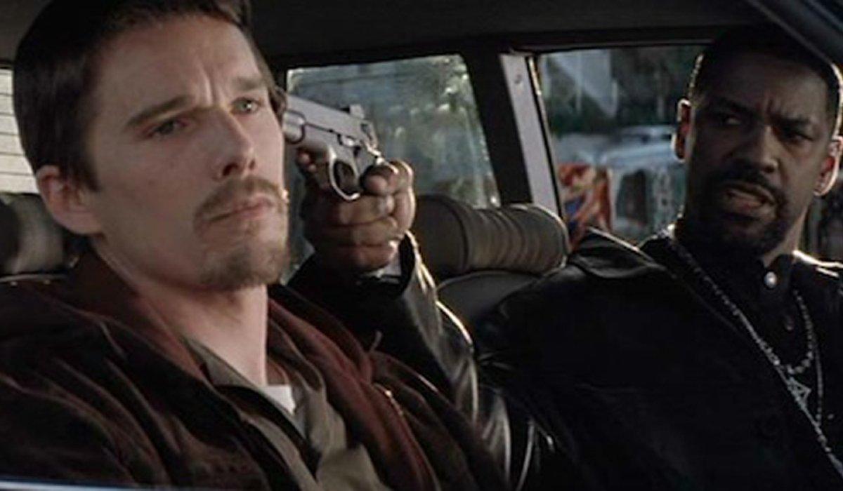 Training Day Ethan Hawke with a gun to his head, courtesy of Denzel Washington