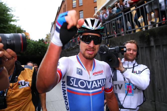 Peter Sagan (Slovakia) celebrates his third world title