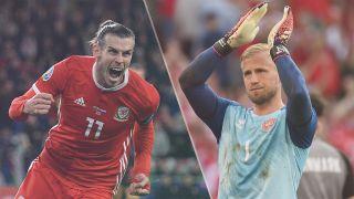 Wales vs Denmark live stream — Gareth Bale of Wales and Kasper Schmeichel of Denmark