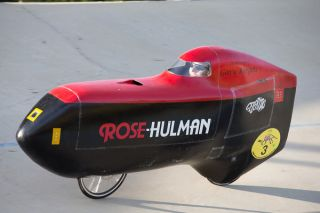a driver competes in the Human-Powered Vehicle Challenge in California.