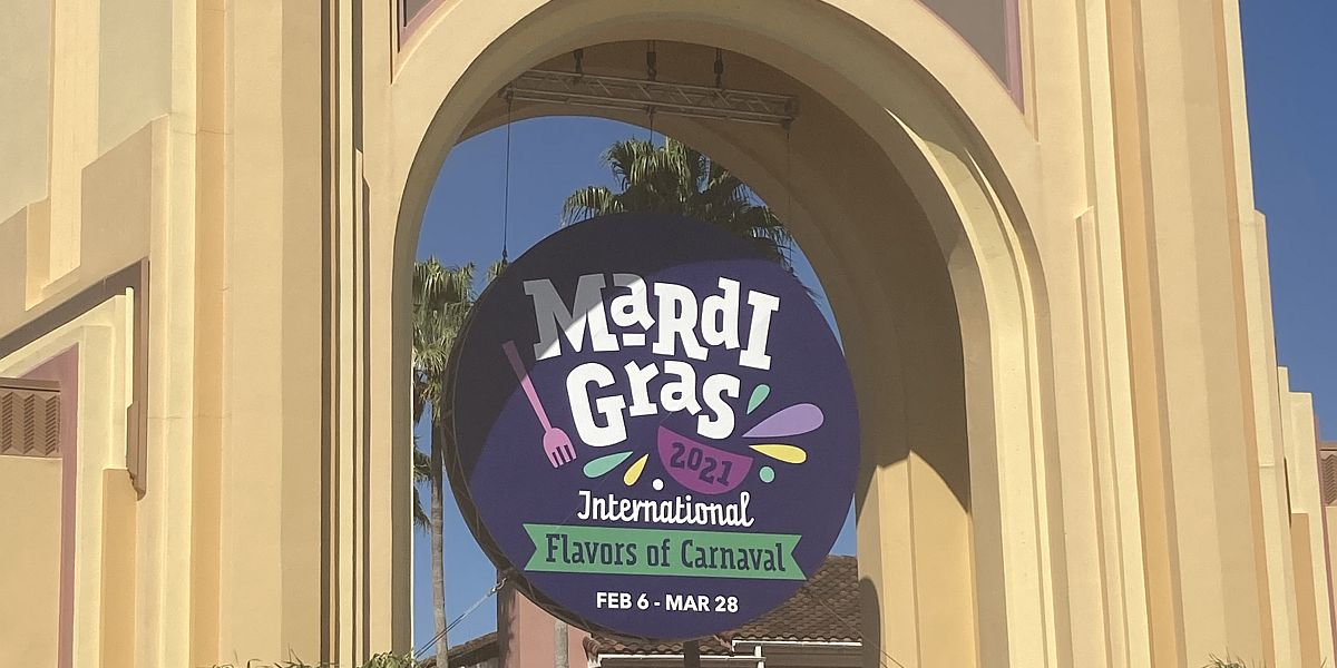 Mardi Gras celebration sign from Universal Studios Florida