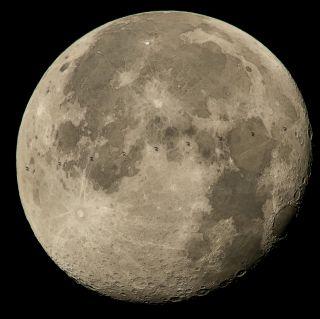 International Space Station Transits Moon