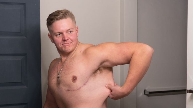 David Roden showing off his dramatic weight loss