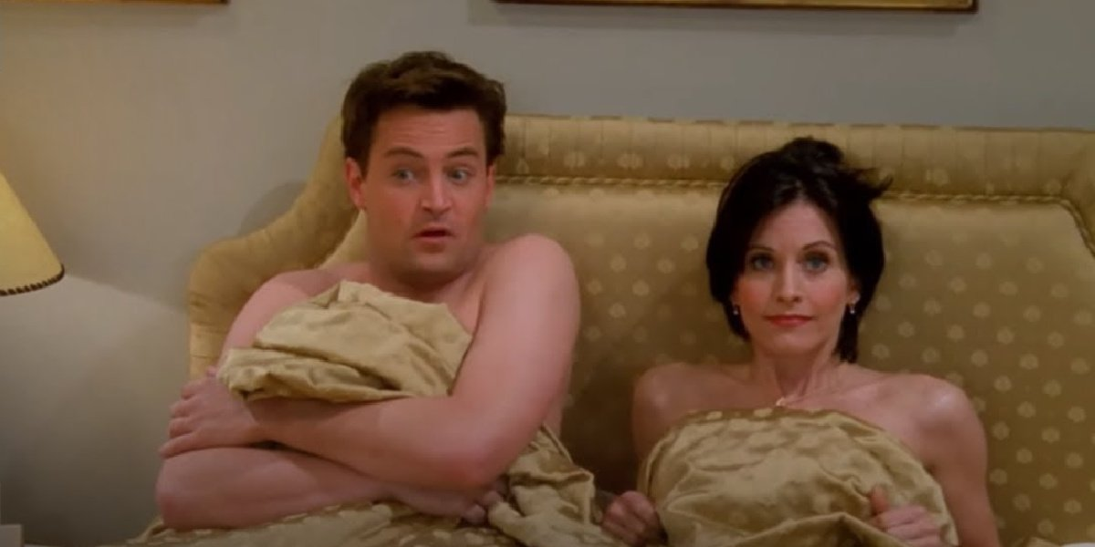 Monica and Chandler after they first sleep together in Friends.