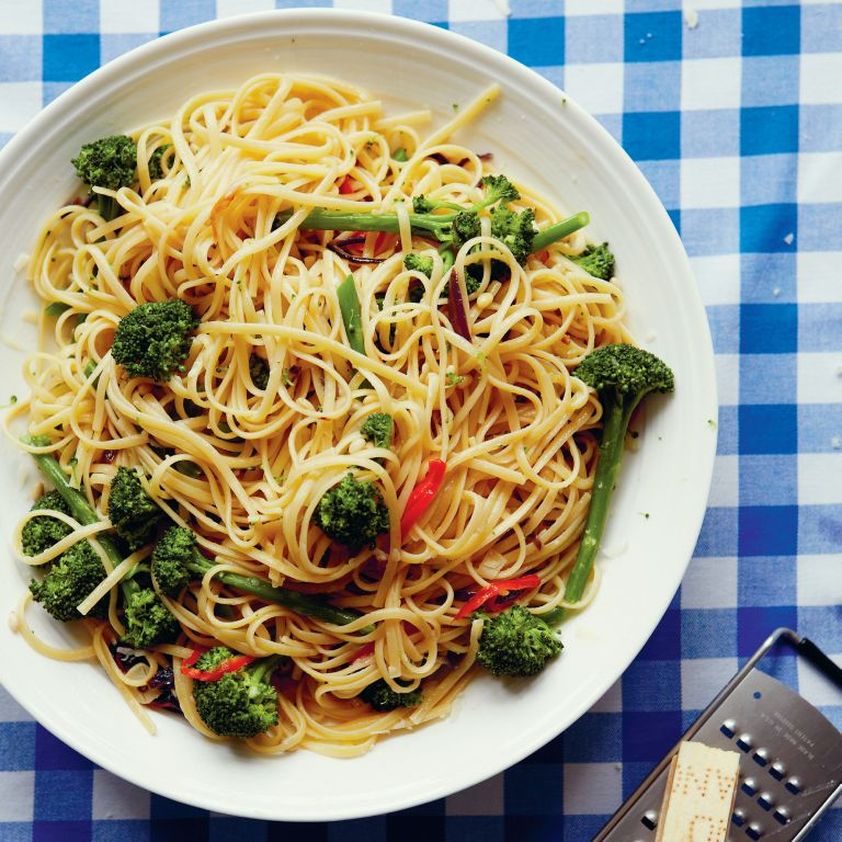 Purple Sprouting Broccoli, Linguine, Chilli and Pine Nuts