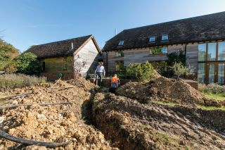 a ground source heat pump installation at a self build home