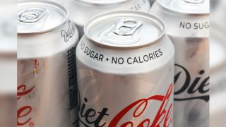 Cans of diet coke.