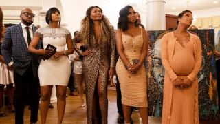 From left: Dennis McKinley, Porsha Williams, Cynthia Bailey, Kenya Moore, and Eva Marcille in Bravo's 'Real Housewives of Atlanta'